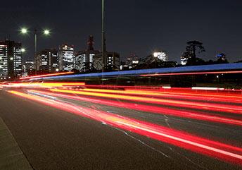 fast moving car headlights